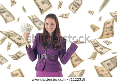 Presenting things. Smiling successful businesswoman holding pile of banknotes on dollars background - stock photo