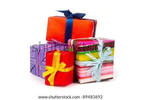 Presents boxes on white background - stock photo