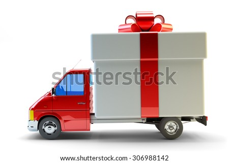 Presents delivery service concept, truck with a gift box with red ribbon bow isolated on white background - stock photo