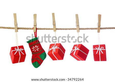 Presents isolated on white background - stock photo