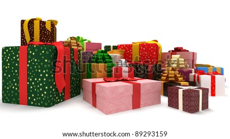 presents on the white background - stock photo