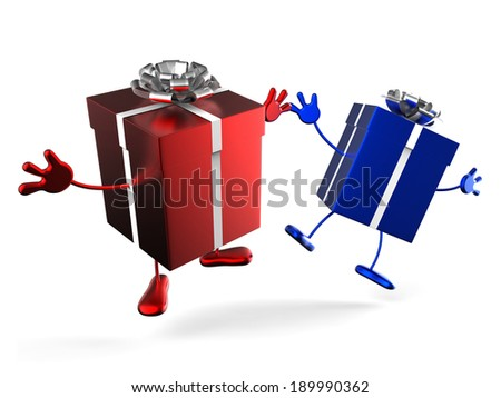 Presents Showing Wrapping Up And Giving Gift - stock photo