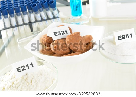Preservatives substances that are added to products such as foods, pharmaceuticals, paints, biological samples, wood etc - stock photo