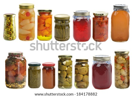 Preserved Food Collection Isolated On White Background - stock photo