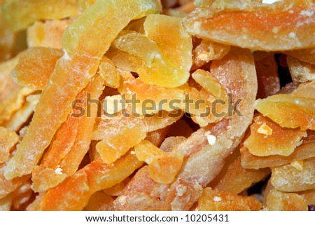 Preserved fruit sold at a market stand in Nice. - stock photo