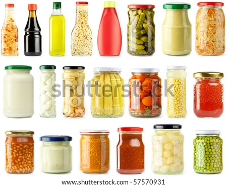 Preserved, pickled vegetables and food ingredients set, isolated - stock photo