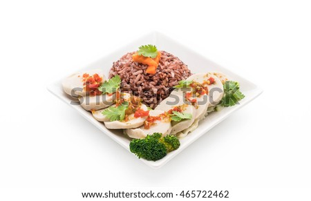 preserved pork sausage and spicy sauce with berry rice - clean food