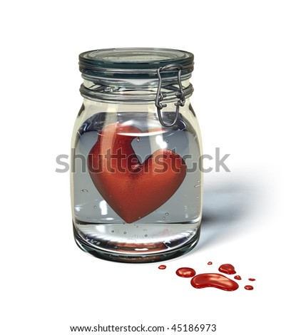 Preserving jar with a heart floating in water. Outside, in front of the jar, there are some red drops of blood. - stock photo