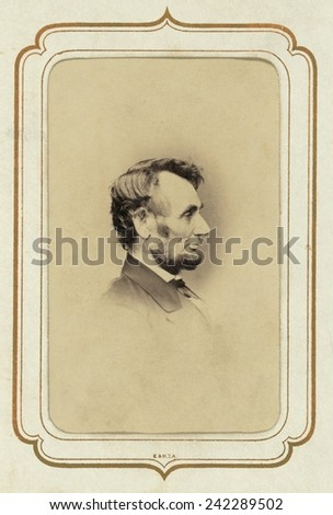 President Abraham Lincoln (1809-1865) in profile portrait of February 9, 1864. By Anthony Berger of Mathew Brady's studio. - stock photo