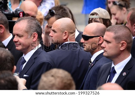 President Andrej Kiska with bodyguards during presidential inauguration on June 15, 2014 in Bratislava, Slovakia.  - stock photo
