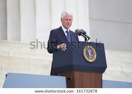 President Bill Clinton speaks during the Let Freedom Ring Commemoration, the 50th anniversary of the March on Washington at the Lincoln Memorial in Washington, DC on August 28, 2013.