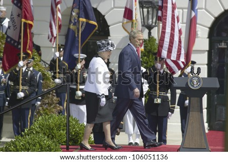 President George W. Bush and Queen Elizabeth II walking onto the stage May 7, 2007, Washington, DC - stock photo