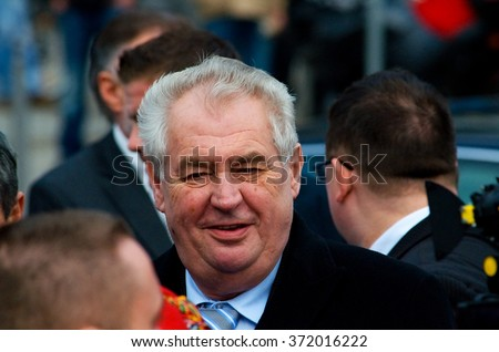 President of the Czech Republic Milos Zeman visited Maravian town Prerov. Czech president is visiting Prerov and talking to people in Prerov, Czech Republic, on Friday March 7, 2014.  - stock photo