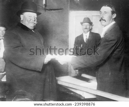 President William Taft (1857-1930) voting in 1912, when the divided Republican lost the Presidency to Democratic Woodrow Wilson.