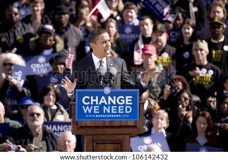Presidential Candidate Barack Obama appearing at early vote for change Presidential rally, October 29, 2008 at Halifax Mall, Government Complex in Raleigh, NC - stock photo