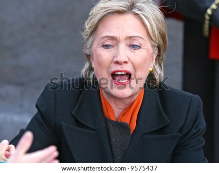 presidential candidate Hillary Clinton reaching to supporters at a democratic rally in Spokane washington - stock photo