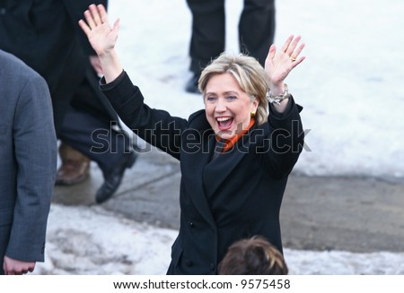 presidential candidate hillary Clinton waving to supporters at a democratic rally in Spokane washington - stock photo