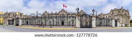 presidential palace lima peru on plaza de armas palacio gobierno - stock photo