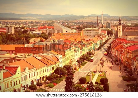Presov, Slovakia - aerial view of the old town. Cross processing color tone - filtered retro style. - stock photo