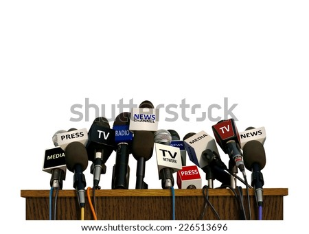 Press and Media Conference Microphones - stock photo