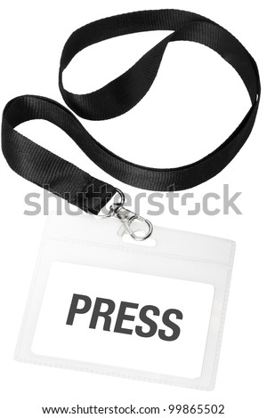 Press badge or ID pass isolated on white background, clipping path included - stock photo