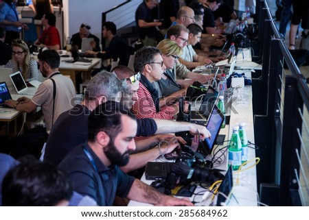 Press Center. 68th Cannes Film Festival on May 13, 2015 in Cannes, France. - stock photo