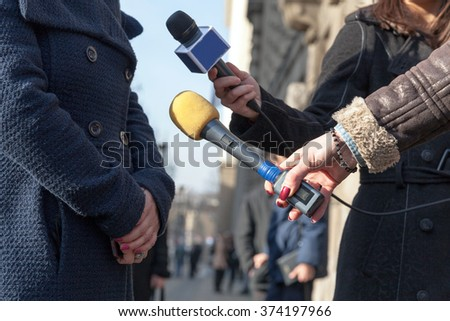 Press interview. News conference. Reporters. - stock photo