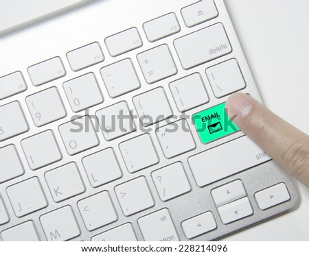 Press Keyboard on green email button - stock photo