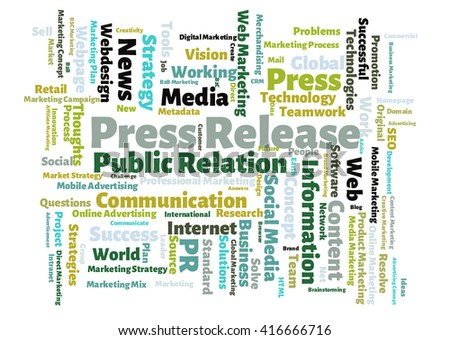 Press Release word cloud - stock photo