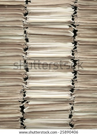 press sheet on a big stack. library background. - stock photo