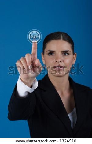 Press the solution key - stock photo