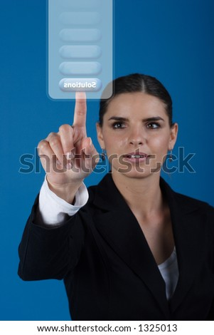 Press the solutions key - stock photo