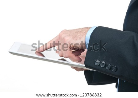 Press your finger on tablet computer
