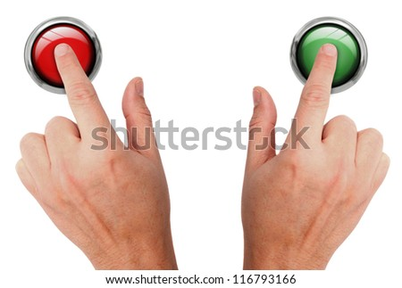 Pressing buttons - stock photo