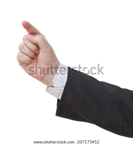 pressing forefinger - hand gesture isolated on white background - stock photo