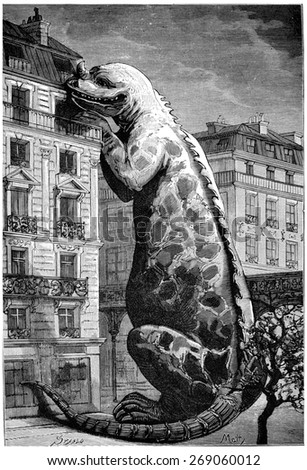 Pressing their paws on one of our highest houses, they could eat at a fifth floor balcony, vintage engraved illustration. Earth before man  1886. - stock photo