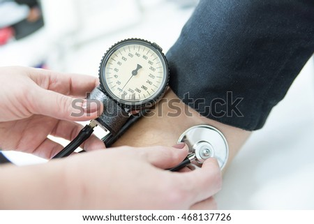 Pressure checking with stethoscope