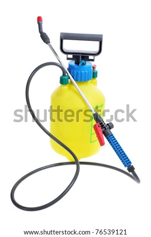 Pressure Garden Pump on White Background - stock photo