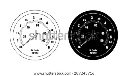 Pressure gauge bar icon. Clip art raster contour lines and black silhouette illustration isolated on white  - stock photo
