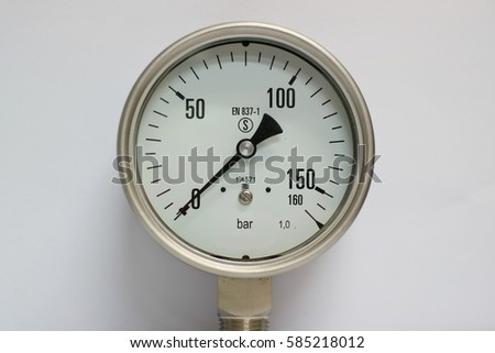 pressure gauge isolated on a white background, oil and gas pressure gauge