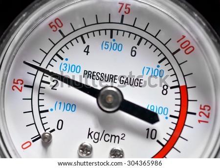 Pressure gauge, manometer closeup - stock photo