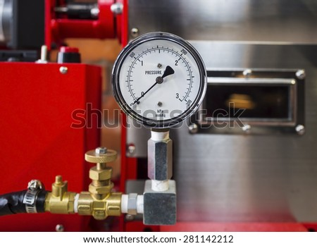 Pressure gauge Meter installed, Measuring Tool equipment - stock photo