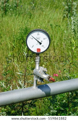 pressure gauge on the pipe