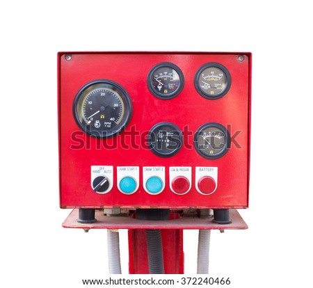 Pressure gauge panel of fire pump  isolated on white background. - stock photo