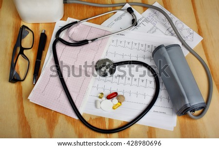 Pressure measurement, stethoscope and correction using medicines pills