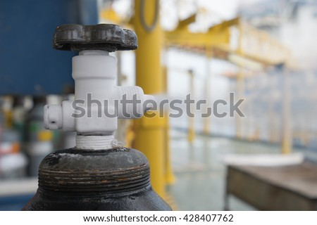 Pressurized gas cylinder,CO2 gas venting to release pressure and empty for sent to onshore.(Safety reason while transfer by boat)  - stock photo