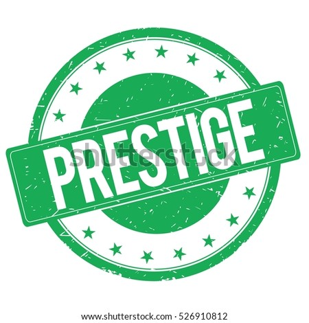PRESTIGE stamp sign text word logo green.