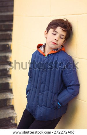 preteen handsome lonely offended boy - stock photo
