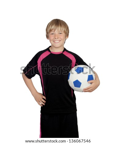 Preteen with a uniform for play soccer holding a ball isolated on white background - stock photo