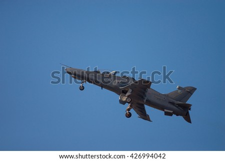 PRETORIA, SOUTH AFRICA-MAY 7 2016: A SAAF  Hawk MK120 does a high alpha dirty flypast at the Swartkops Museum Airshow